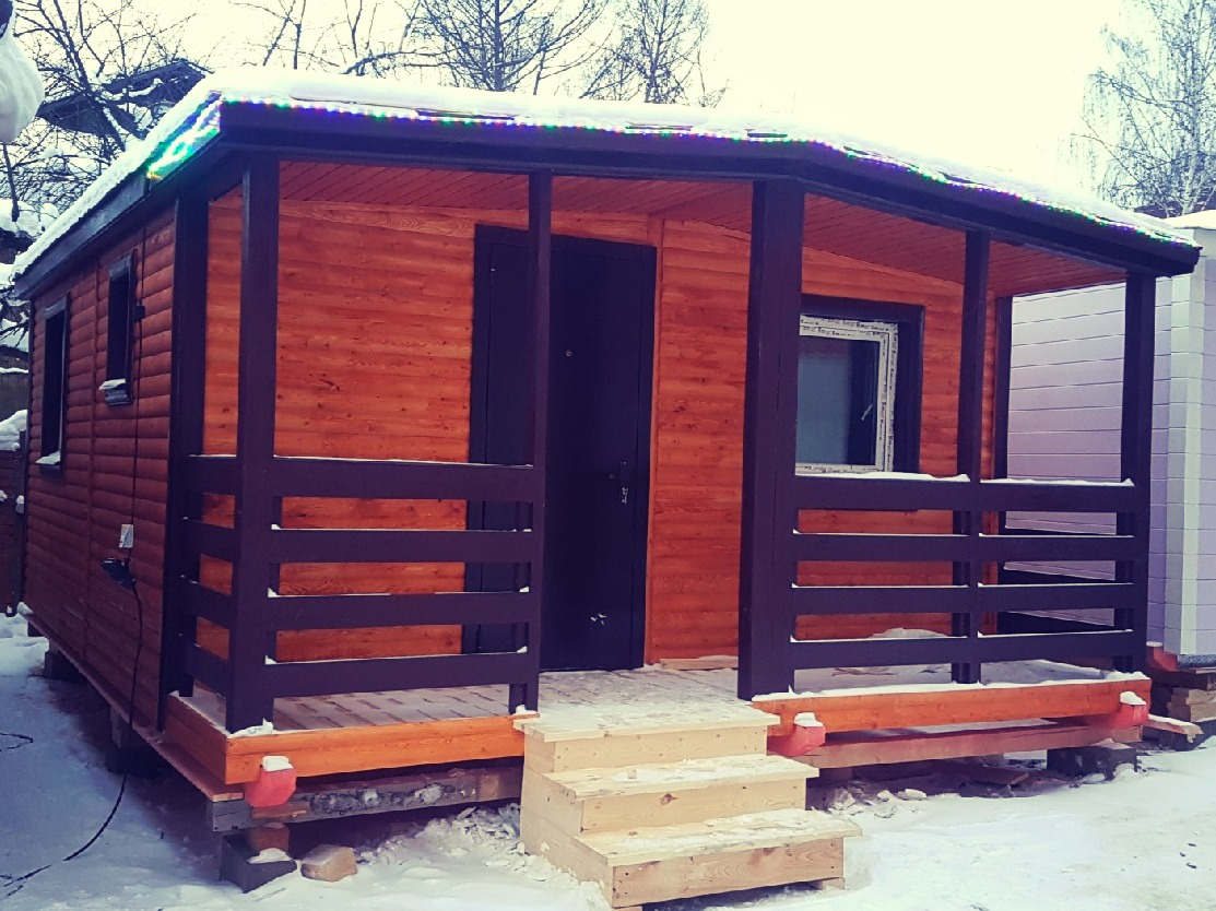 Дачный домик с террасой, тамбуром и санузлом 6x4,6 м «ЛИВЕРПУЛЬ»