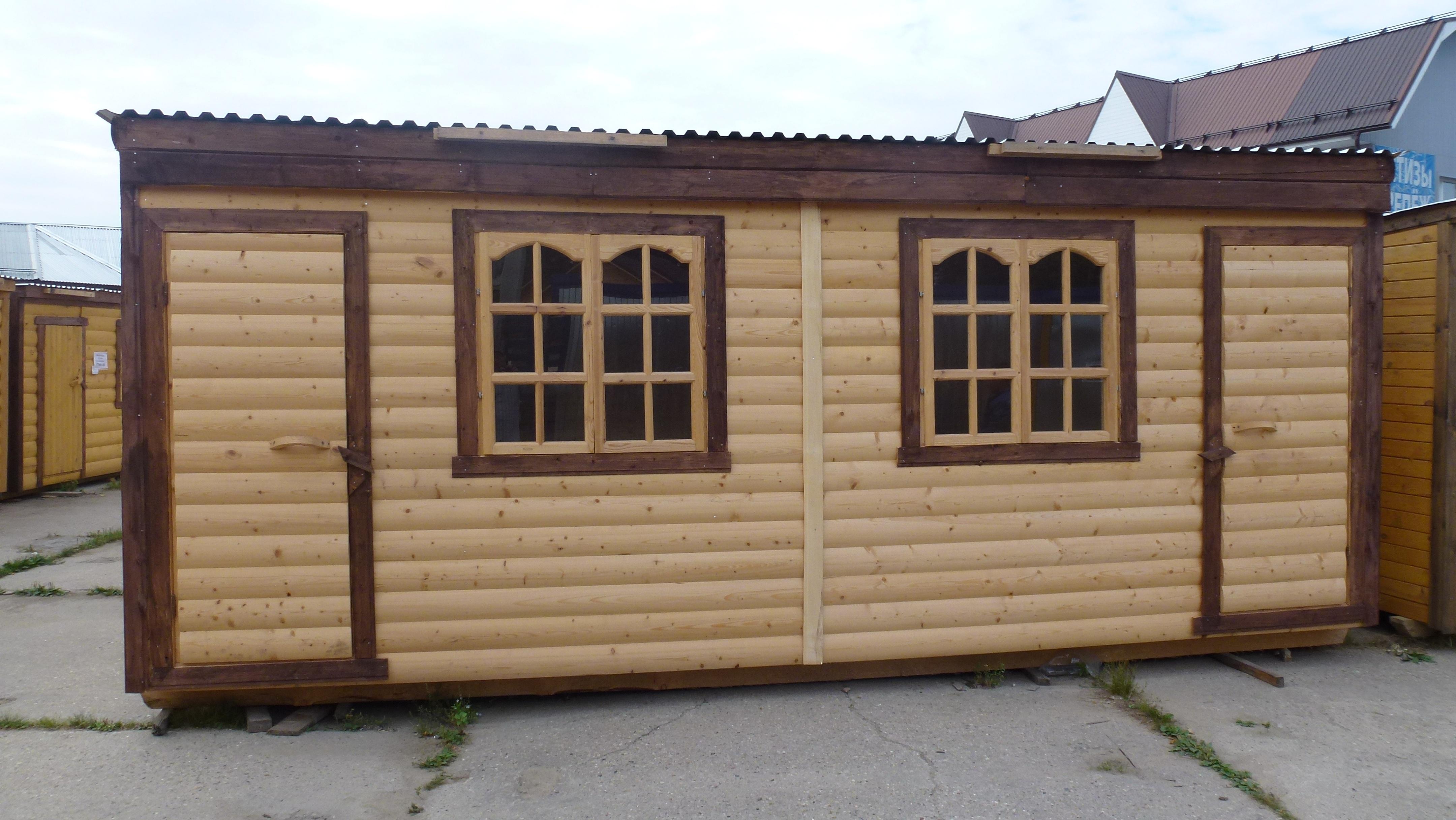 Двухкомнатная деревянная строительная бытовка БД-05 7x2,3 м